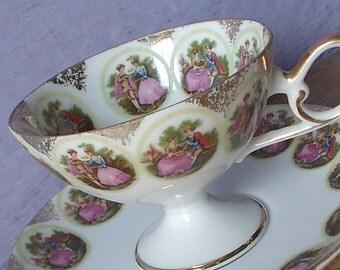 Vintage Love Story Teacup and Saucer, Fragonard tea cup, Japanese tea cup, Pedestal tea cup, Porcelain tea cup, china teacup, Shabby chic