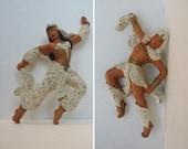 1950's Chalkware Male & Female Arabian / Egyptian Dancers - Universal Statuary - Wall Hangings