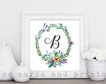 Letter B Monogram Print - Printable Floral Monogram - Letter B - Nursery Art