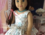 I love Paris Dress, and Faux Pearl Necklace Custom Couture for 18 Inch Dolls