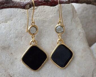 Black Rhombus Dangle Earrings, Smokey Gray Swarovski Earrings, Black Enamel Drop Earrings, Gold Rhombus Earrings, Gold Geometric Earrings