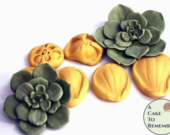 Silicone succulent mold or veiner for gumpaste succulents. Cake decorating petal veiner. M201