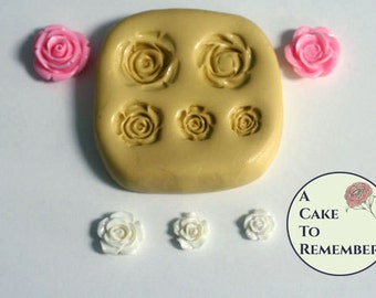 Small roses silicone mold for gumpaste or soap embeds. Silicone mold for cupcakes or cake pops. Resin flower mold, polymer clay M5019