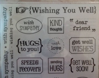 Wishing You Well Assorted Word & Phrase Sentiment Plastic Stickers - Great for Card Making - Clear w Black Letters - Four 9X7 inch Sheets