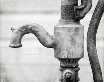 Black and White Bathroom Print or Canvas Wrap, Water Faucet Print, Black and White Bathroom Art, Laundry Room, Water Pump Picture, Gallery.