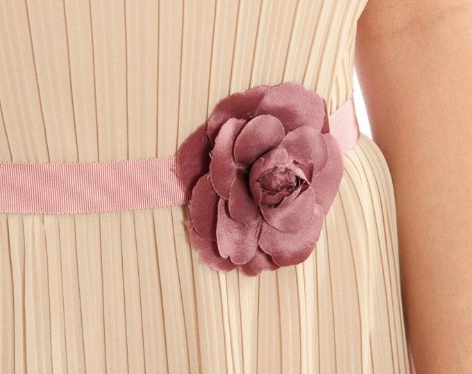 Handmade Pink Bridal Belt with Pale Plum Silk Flower Belt Unique Sash Blush Dusty Rose Silk Bridesmaid Alternative 1000214