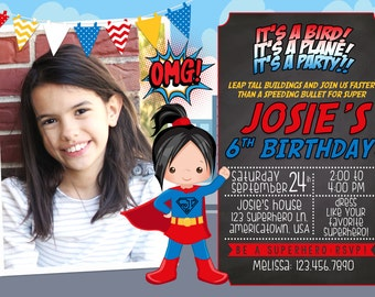 SALE 50% Off! Superhero Supergirl Digital Birthday Invitation