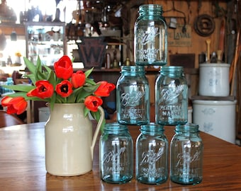 6 Ball ALMOST PERFECT Mason Quart Jars ~ SECONDS ~ No Lids ~ Wedding Jars ~ Wedding Decor ~ Flower Vases ~ Insurance with Shipping