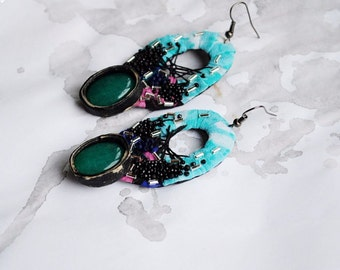 Mints - statement eco, hand embroidered earrings