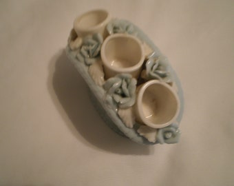 Beautiful Lite Blue Porcelain Lipstick Holder with Roses  Made in the 60's Victorian Shabby Chic  Dresser vanity Romantic Decor
