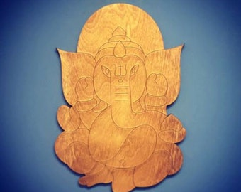 Wooden Ganesha Elephant Spiritual Wall Art