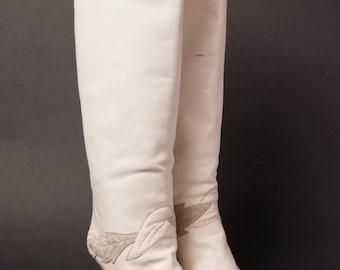 30% OFF White High Heel Boots 1980s Gloria Vanderbilt 7M