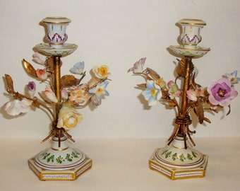 Sale Antique Germany PORCELAIN Roses Flowers CANDLEHOLDERS Ornate Gold Gilt Handpainted PAIR
