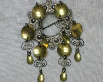 Antique Norwegian Solje Brooch #2 Filigree Hearts 830 Silver