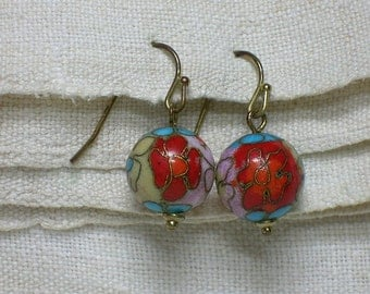 Chinese Cloisonne Earrings, Gold Plated Wires. Multicolor Floral Beads
