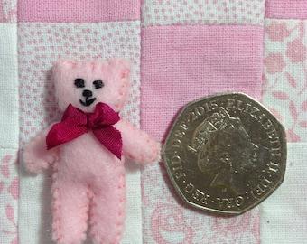 Pinky....Tiny felt ted brooch x