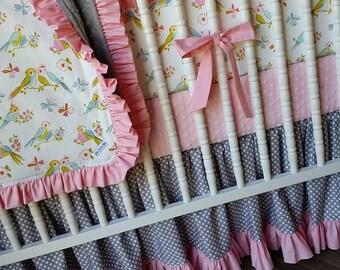 Girl Crib Bedding- Lovebird Baby Bedding- Bird Bedding- MADE to ORDER- Baby Bedding- Girl Crib Bedding- Lovebird Bedding