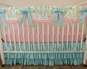 Girl Crib Bedding- Bumperless Girl Baby Bedding- Lovebird Damask MADE TO ORDER- Crib Bedding- Girl Bumperless Bedding- Lovebird Damask