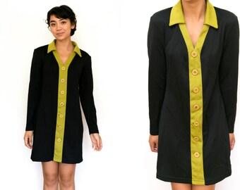 70s Mini Dress / Mod 60s Button Up Color Block Long Sleeve Dress / Vintage Collar Shift Dress Medium Womens Lime Green Black Collared Dress