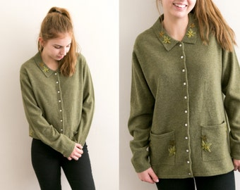 WOOL Floral Embroidered Cardigan / Lambswool Warm Winter Knit Button Up Sweater / Long Coat Earthy Olive Button Down / Pocket Medium