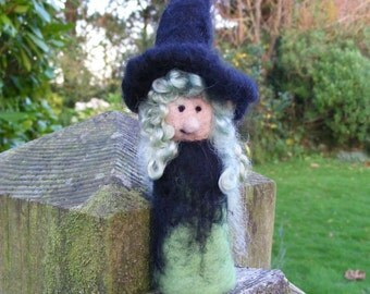 Pocket Witch - Needle Felted in Green - A friendly good witch for Halloween or a witchy friend.