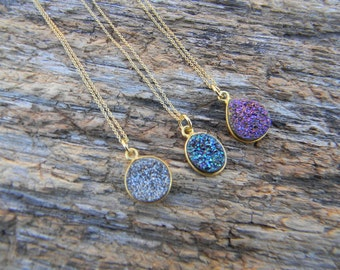 Gold Druzy Necklace - Dainty Druzy Necklace - Layering Druzy Necklace - Silver Druzy- Purple Druzy- Blue Druzy - Drusy Necklace  - Gift Idea