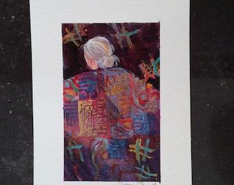 Quilt Art lavender series 4 original art