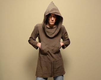 vintage 80s Kenzo Jap hooded pullover druid cloak jacket pointed hood cowl neck long sweater RARE medium large 42