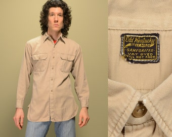 mens vintage 40s 50s work shirt Old Kentucky sanforized vat dyed khaki tan work wear distressed 1940 1950 menswear M medium