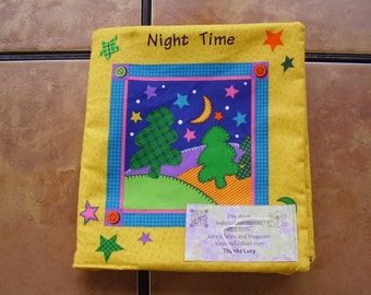 Night Time Stars Planets Quiet Soft Fabric Baby Toddler Story Book Handmade Ready to Read