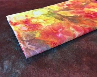 Ice Dyed Yellow, Red, Purple with Variations 100% Cotton Fabric - 1 Yard