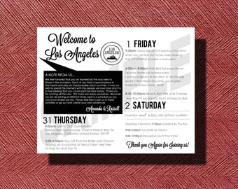 Double Sided Wedding Weekend Itinerary, Los Angeles, Ca Destination Wedding Double Sided Welcome Weekend Itinerary