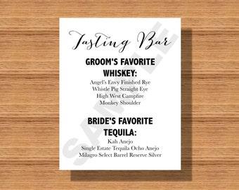 Wedding Tasting Bar Menu, Wedding Bar Sign, Printable Wedding Bar Menu, Tasting Bar Menu, Bar Menu for your Special Event, Wedding Printable