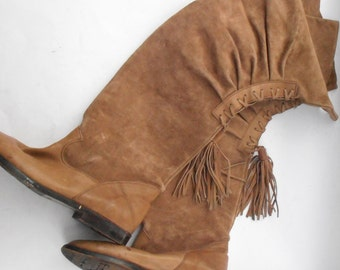 Vintage Tan Suede Boots Ladies Over The Knee Lace Up Tassel Young Lady Tall Camel Brown Leather Size 6.5 EU 37 Flat Shoes Almond Shape Toes