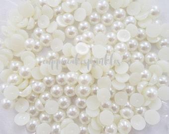 50pcs - 8mm Cream Ivory Flatback Pearls Decoden PE10008