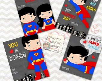 Superhero Valentine Cards For Kids *Super Hero Boys Valentines* Superman  DIY Valentines* Printable