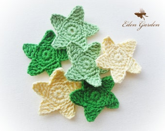 Set of 6 Crochet stars- Greens and Yellow