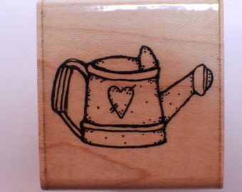 Dots Watering Can E327 Wooden Rubber Stamp