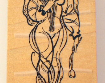 Stampington An Dco Emergence P2224 Angel With A Tulip Wooden Rubber Stamp