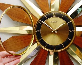 Starburst Clock, Mid century Modern Sunburst Wall Clock, Disassembles