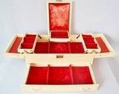 Cream & Red Vintage Jewelry Box Multi Tier Divided Compartments Ring Storage Drawer Velvet Satin Mother's Day Graduation Gift