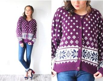 20% OFF VALENTINES SALE Vintage boho purple winter tribal print cardigan sweater // winter purple print sweater // Bill Cosby // retro aztec