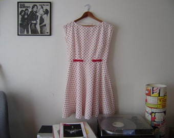MOON DAWN size 12 dress white red polka dot fit and flare