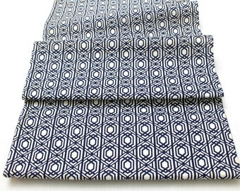 Japanese Vintage Yukata Cotton Fabric. Blue and White Geometric Design (Ref: 1333 )