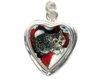 Broken China Jewelry Grey Gray Kitten Kitty Cat Sterling Heart Charm 43-45