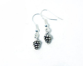 Tiny Acorn For Tiny Squirrel - Acorn Dangle Earrings - Antiqued Silver Vintage Style Acorn Earrings - CP120