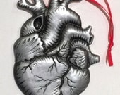 Anatomical Silver Antiqued Heart Magnetic Ornament