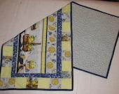 Handmade Quilted Table runner Spring Flowers Blueberries lemons Yellow Blue