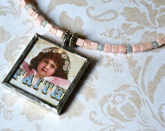 HAND SOLDERED FAITH Pendant Memory Wire Necklace Pink Stone Beads Double Sided Pendant Christian Cross and Faith