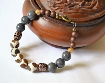 AGATE GREY JADE Copper Toggle Bracelet Animal Print Greys and Browns with Copper Ornate Beads